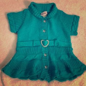 Sparkly Teal button up sweater